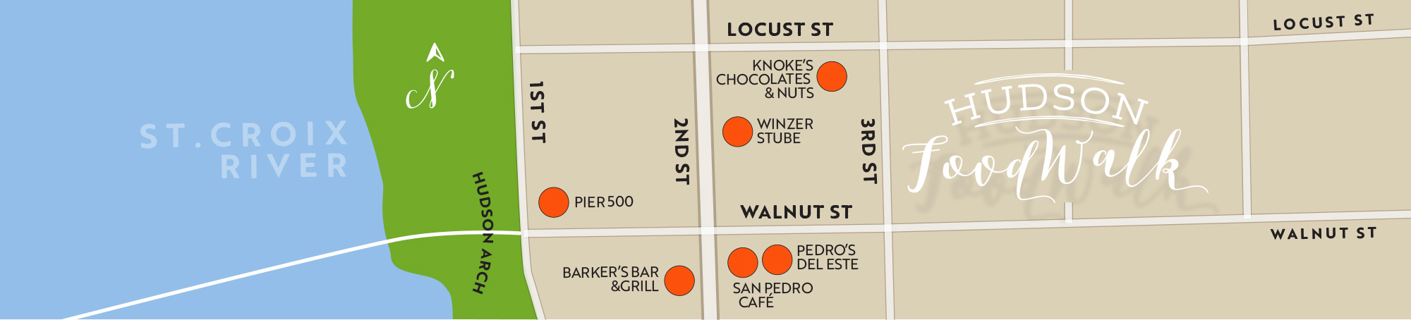 Hudson Food Walk Experience Map